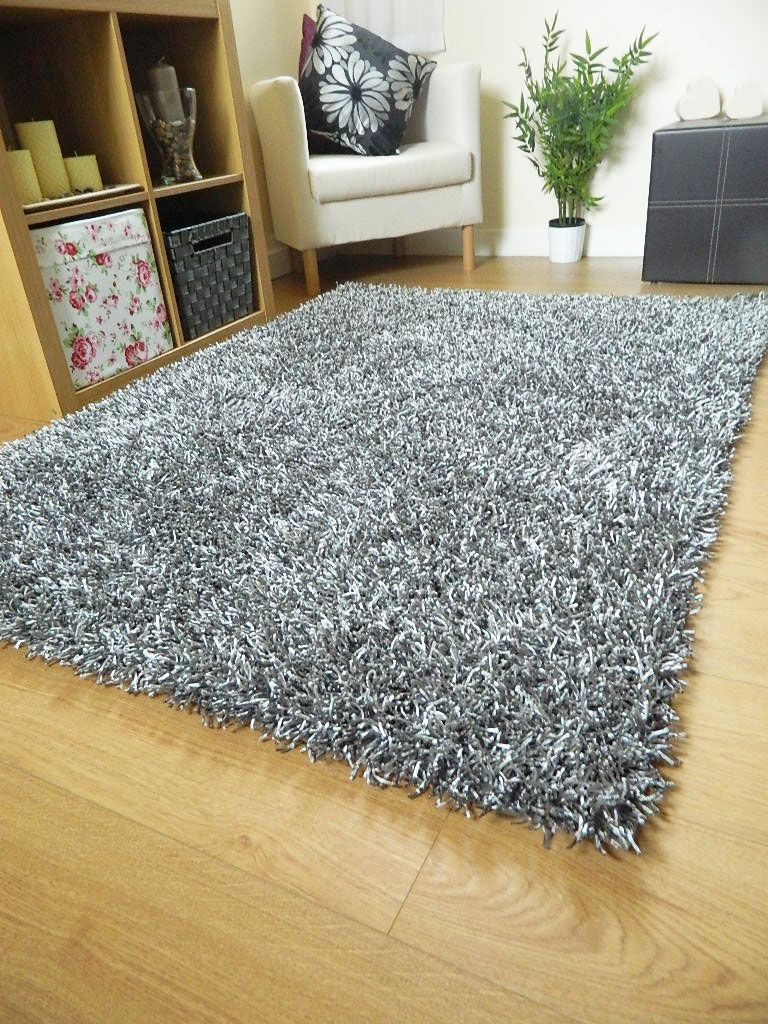 Silver Grey Rug Spaghetti Plain Sparkle Large Small Runner Noodle Mat