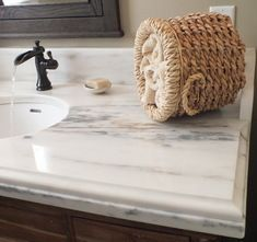 Marble Countertop With Laminate Edge Using Ogee And Eased Edge