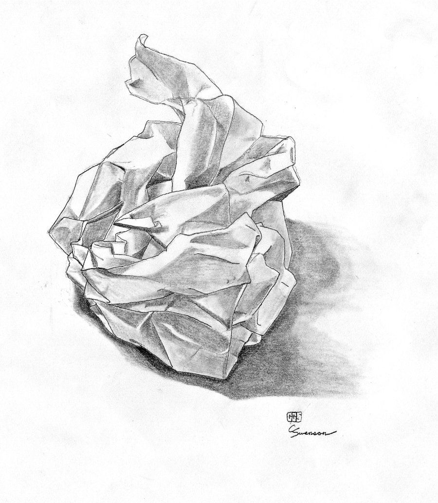 Paper bag sketch - How To Draw A Crumpled Paper Ball Google Search