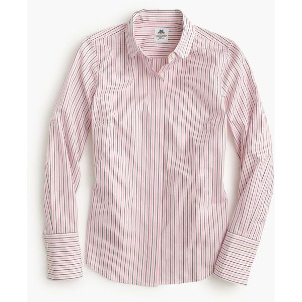 J.Crew Collection Thomas Mason Club-Collar Shirt ($130) ❤ liked on Polyvore featuring tops, long sleeve shirts, roll top, long length shirts, long cotton shirts and shirts & tops
