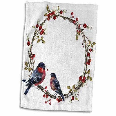 Photo of The Holiday Aisle Pretty Christmas Holly Berry with Two Birds Wreath Illustration Tea Towel