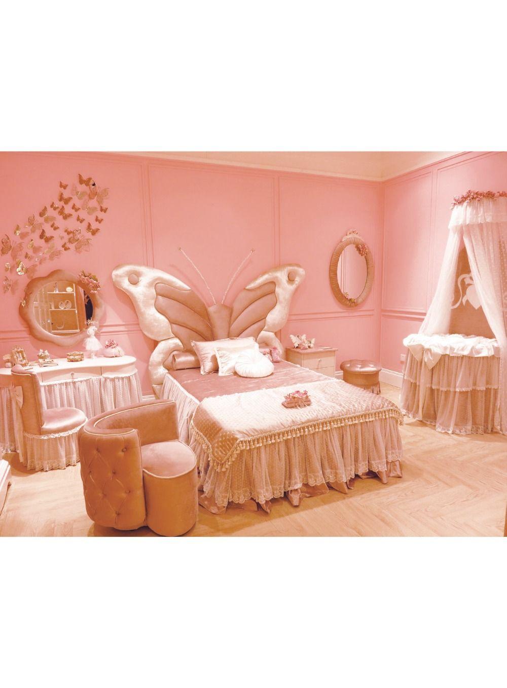 Märchen Stil Massivholz Kinder Bett Schmetterling Form Kopfteil Mit Top  Qualität Stoff Prinzessin Schlafzimmer