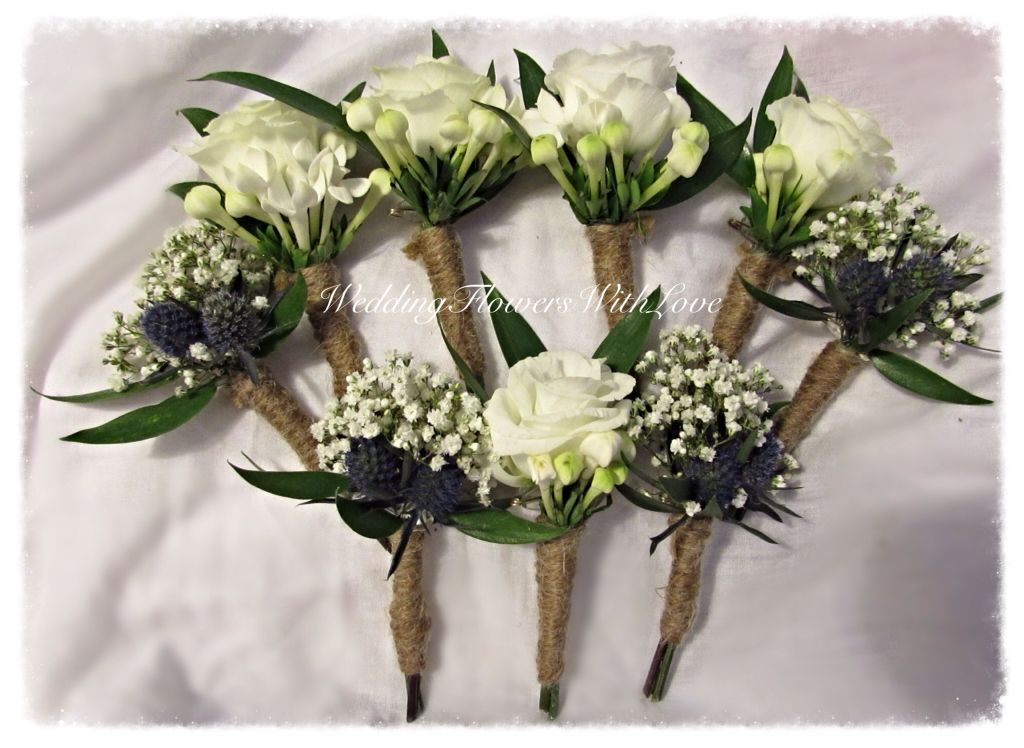 Buttonholes Of White Gyps Erginyum Bouvardia Lisianthus White Winter Wedding Spray Roses Floral Wreath