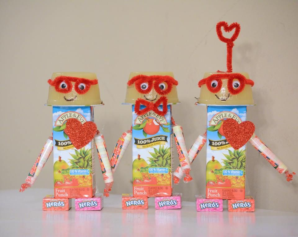 valentines day treats for kindergarten class robots made from apple sauce juice boxes - Valentines For Kindergarten Class