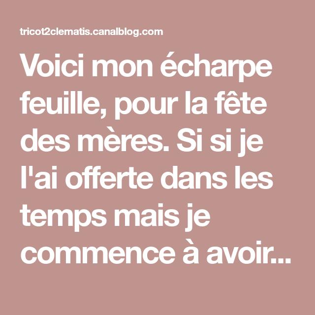 Echarpe feuille - Les tricots de Clematis   A.A.A.A.ALILIE   TRICOT ... 0c9b9c54283