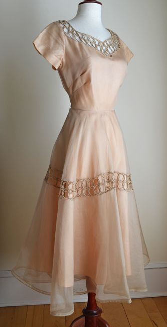 1950s Organza Party Dress with Atomic Macrame Trim, Full Skirt, A New Deb Frock, NY.