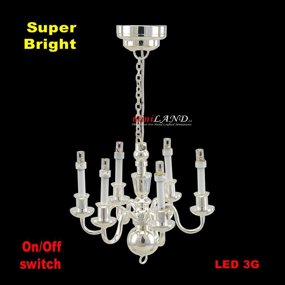 6 arms chandelier black Bright battery LED LAMP Dollhouse miniature light 1:12