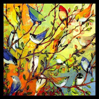 Buy Art For Less \'Tree Birdies - Colorful of Birds in a Tree\' by ...