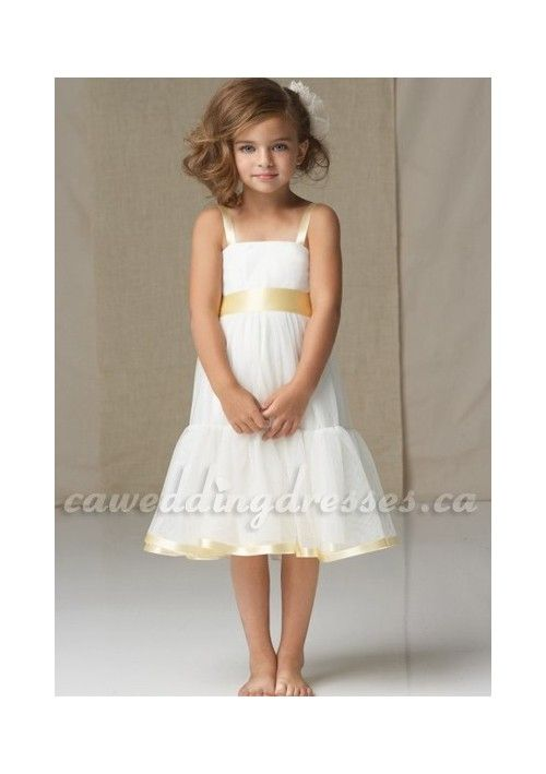 2012 White Square Neck Flower Girl Dress with Delicate Belt and Bubble Style