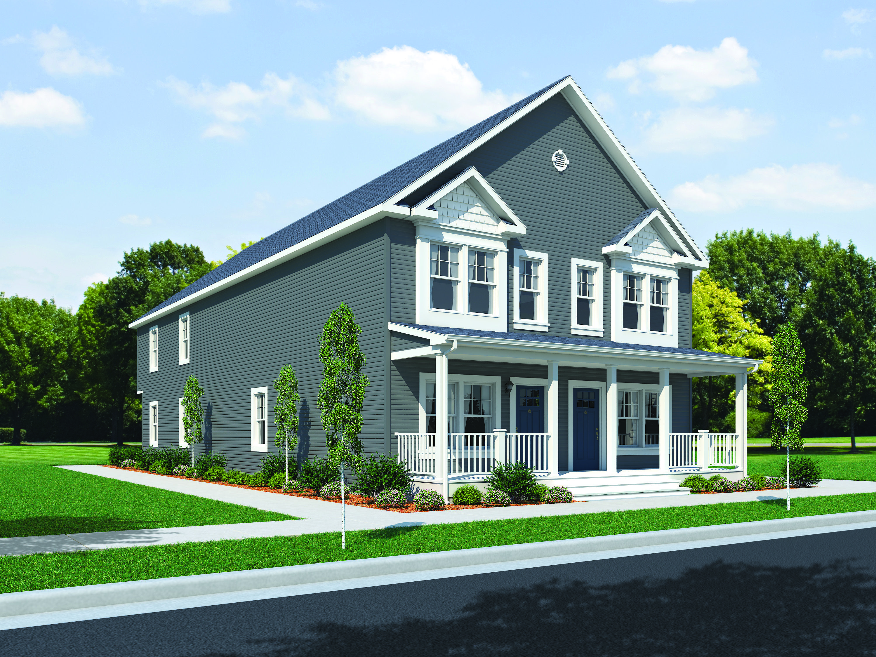 All American Homes humboldt park duplex floorplan of urban home collection - modular