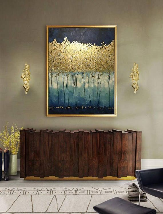 Gold Leaf Painting Blue, Original Abstract Trees Painting, Large Wall Art, Modern Golden Trees, Blue Decor for Living Room by Julia Kotenko #decorateshop
