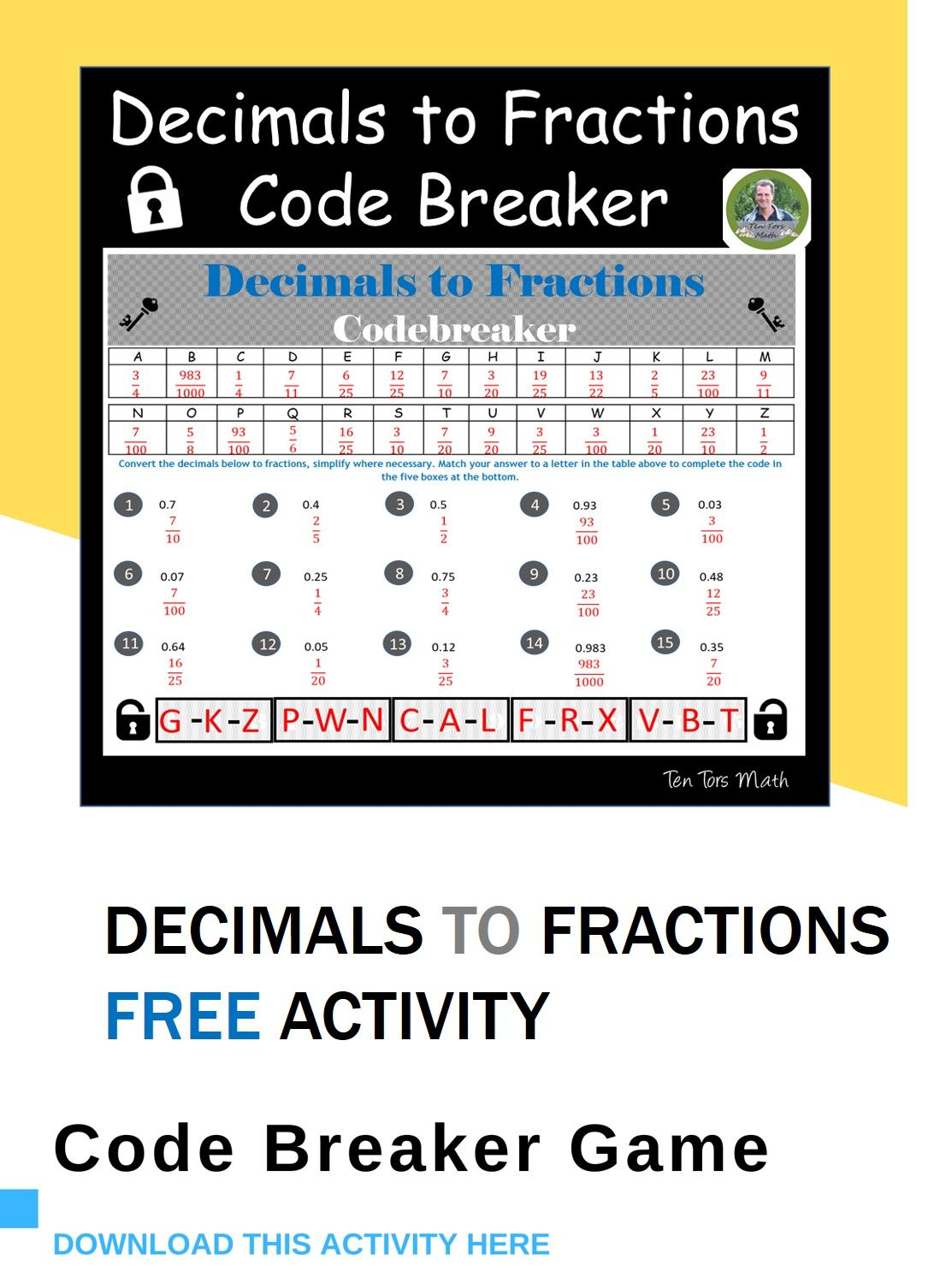 Decimals To Fractions Code Breaker Activity In