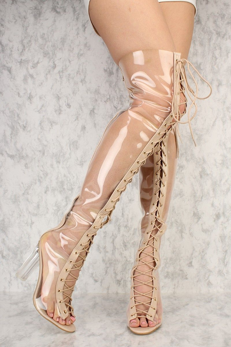 bce91a22db5 Clear Front Lace Up Pee Toe Thigh High Clear Chunky Heel Ami ClubWear Boots  Faux Leather