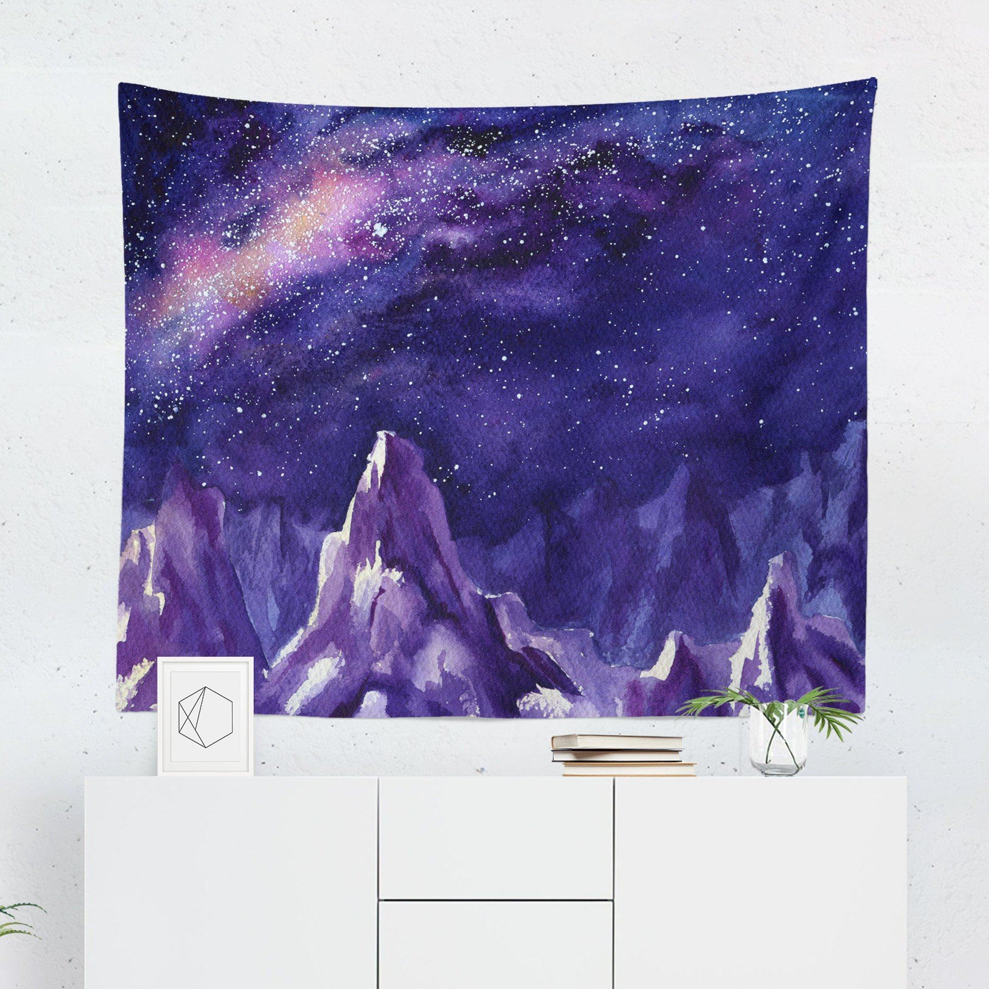 Watercolor Mountain Night Sky Tapestry Tapestry Night Skies Sky
