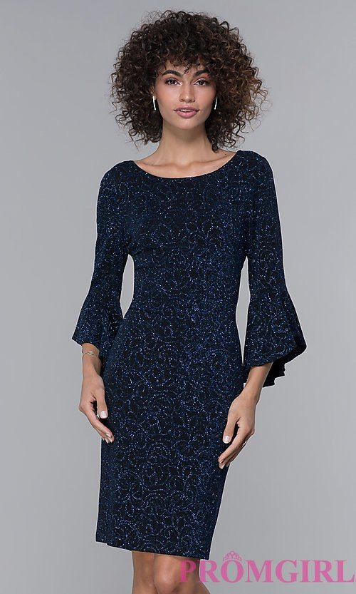 68e91d1d5503c Image of glitter-knit black wedding-guest dress with sleeves. Style: JU