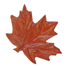 Hand carved artisan wooden red maple leaf pin i heart diggin