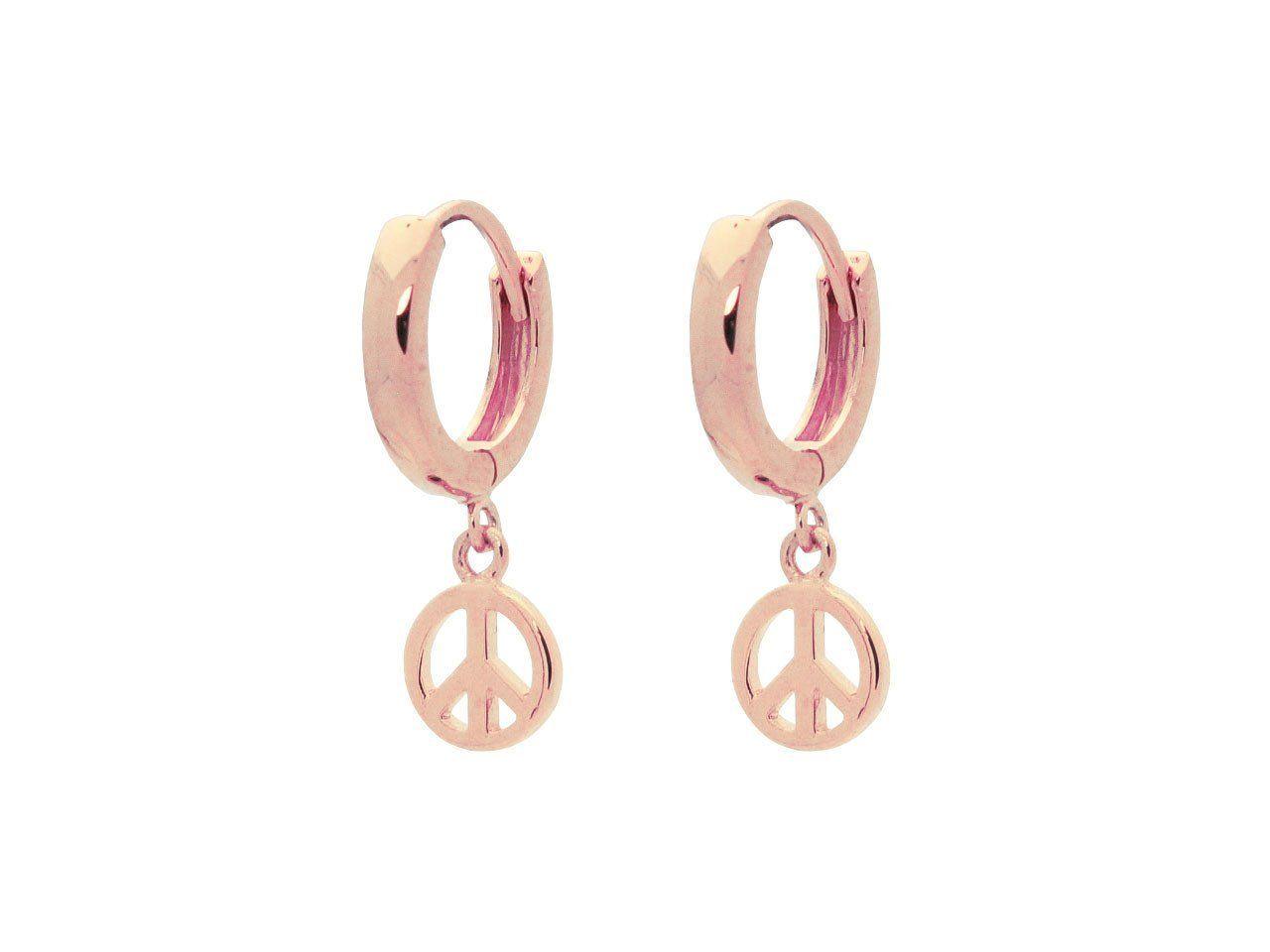 Mini Huggie Girls Earrings Peace Sign| Beckids Jewelry for Kids ...