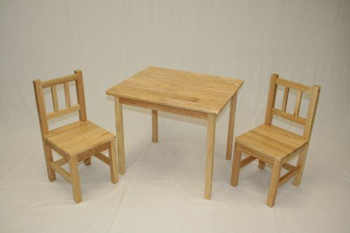 Kids Table And 2 Chairs Set Solid Hard Wood In Natural Ehemco Http Www Amazon Com Dp B Wooden Table And Chairs Kids Table And Chairs Wooden Childrens Table