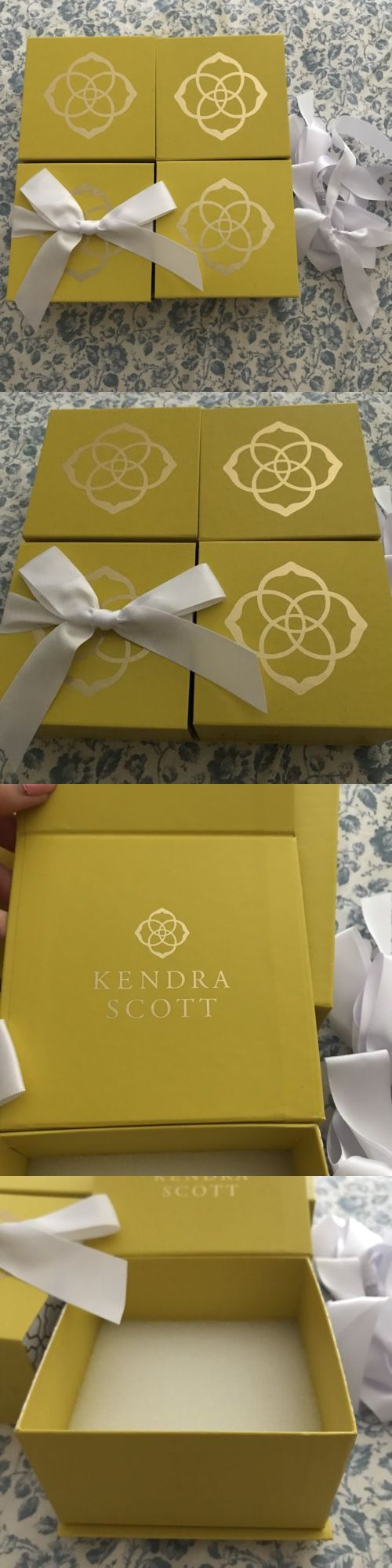 Lot of Four Kendra Scott Yellow Magnetic Gift Boxes with White Bows