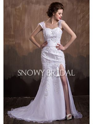 Non-Strapless Spring Tight Applique Long Sashes Organza Wedding Gown ...