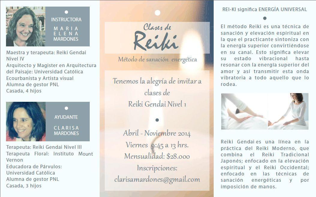 Clases de Reiki Nivel 1. 2014 María Elena Mardones P. Clarisa Mardones P.