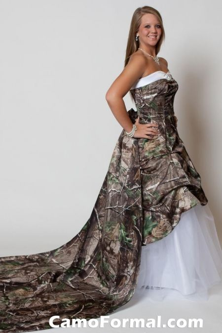 Camo Wedding Dress Style 3011wt Rebecca With Roses Train Camo