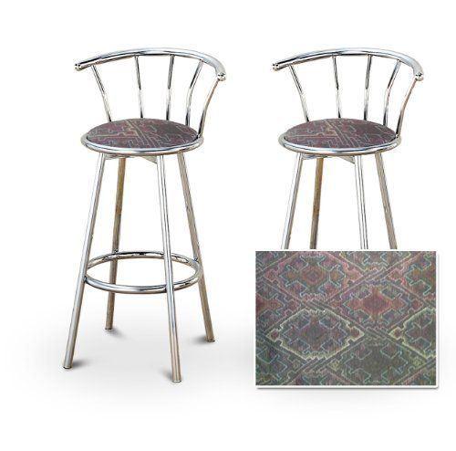 2 Native American Southwest Tapestry Themed Specialty Custom Chrome Barstools With Backrest Set By The Furniture Cove 154 88 Back Rest And Foot