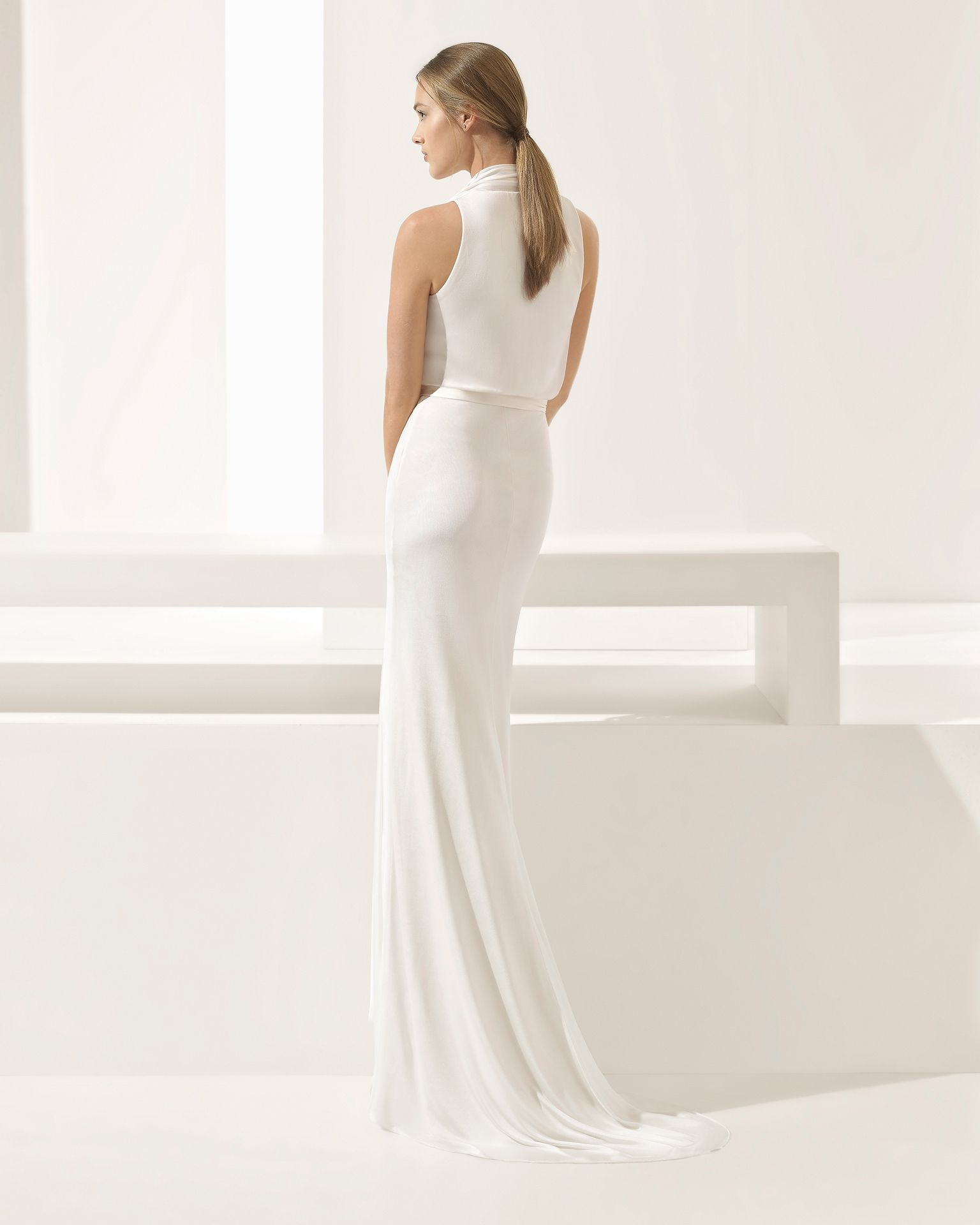 Silk sheath wedding dress  PAMELA   Bridal Collection Rosa Clará Couture Collection