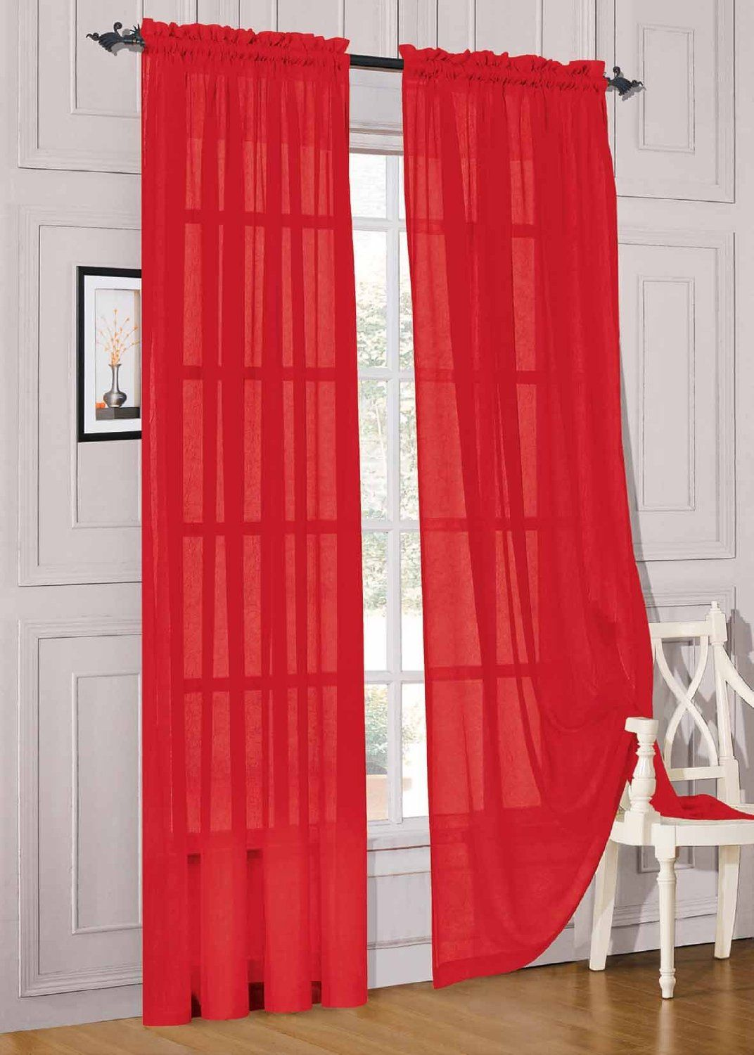 Amazon Com 2 Piece Solid Red Sheer Window Curtains Drape Panels