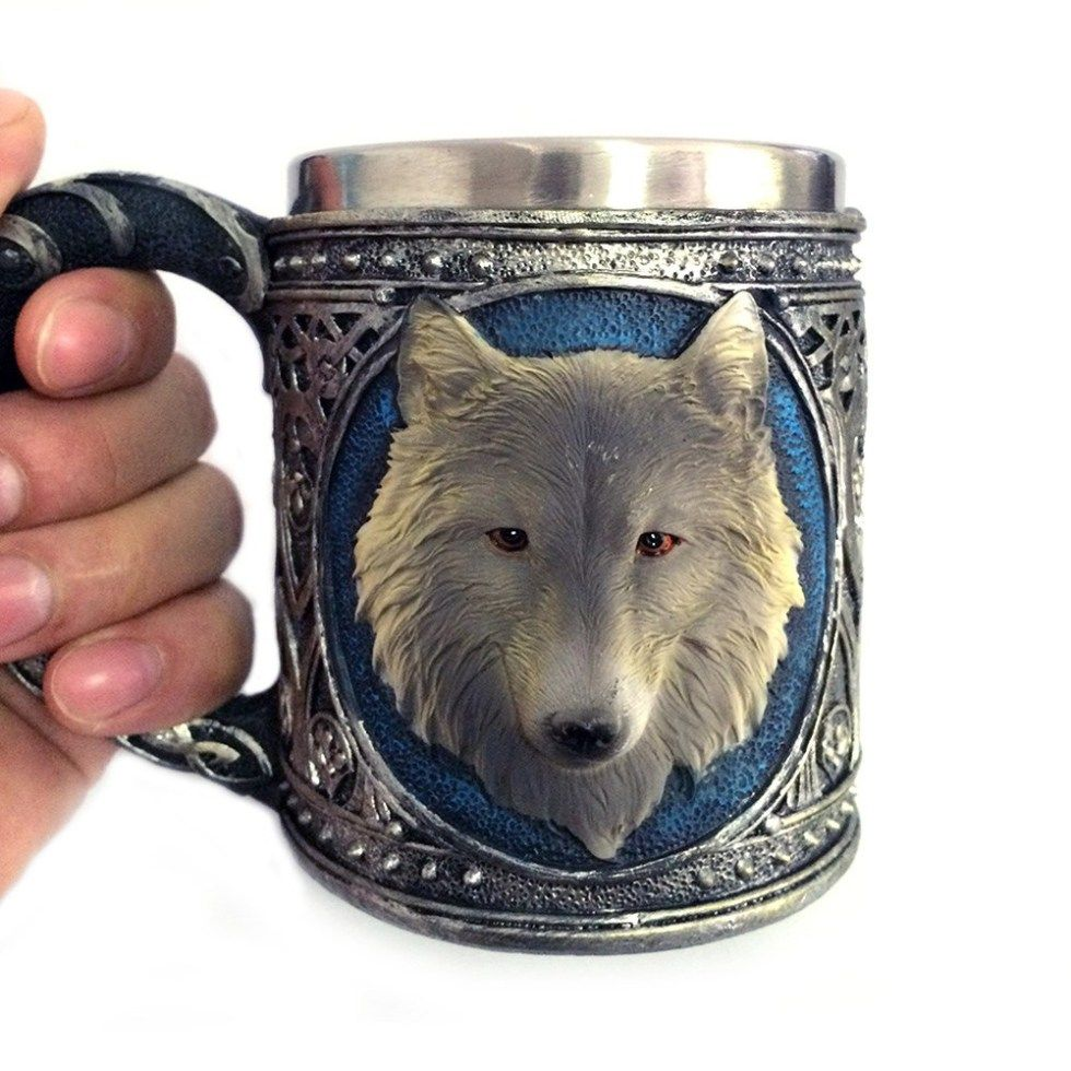 3D Wolf Mug Mugs, Beer mugs, Stainless steel coffee