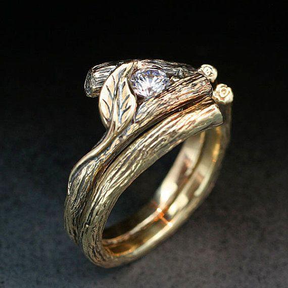 KIJANI WEDDING SET Natural Diamond Twig and Leaf Engagement Ring