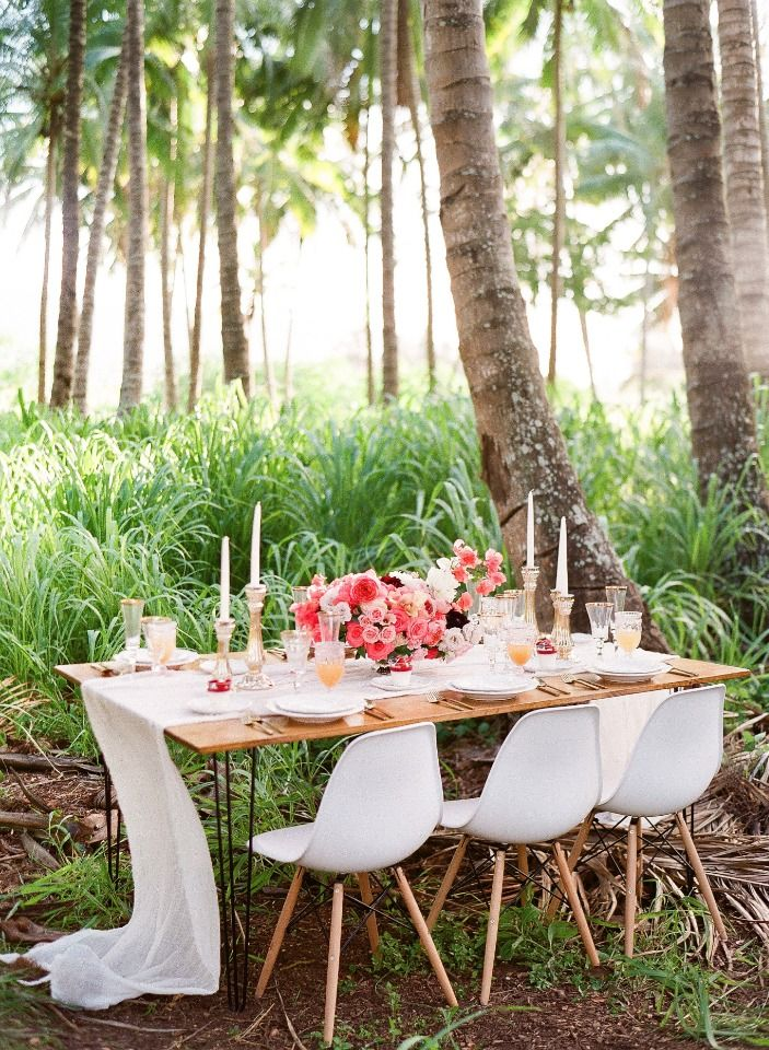 Soft Pink And Tropical Wedding Inspiration Table Decor For