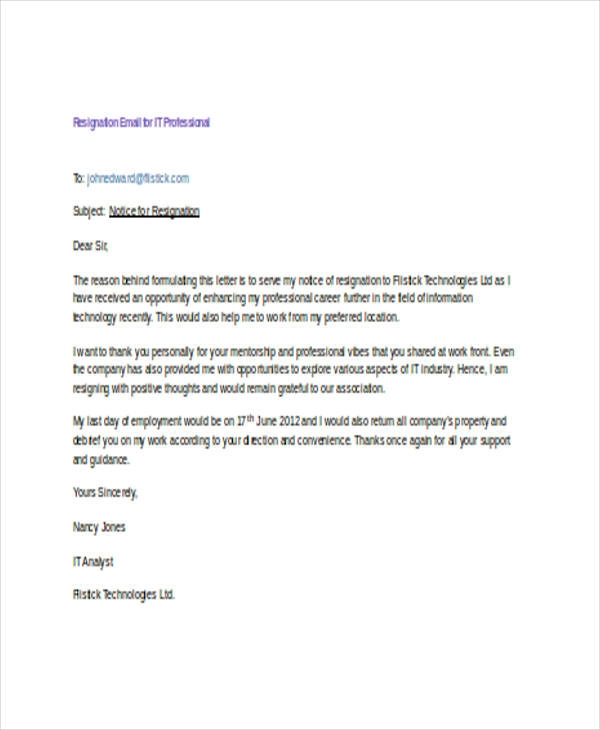 Resignation Email Templates 14+ Free Printable Word
