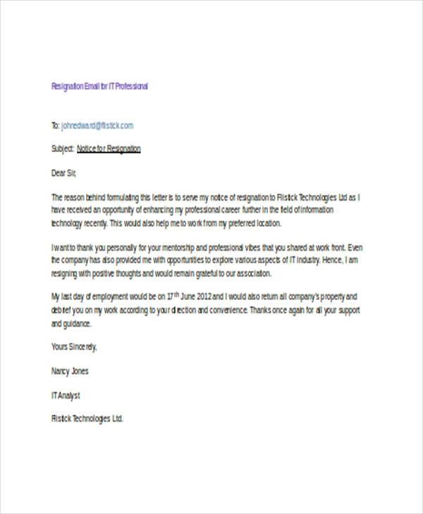 resignation email templates 14+ free printable word winning resume samples hrbp cv sample examples
