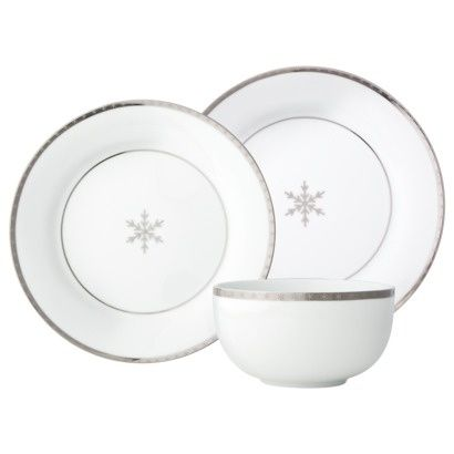 China patterns  sc 1 st  Pinterest & Threshold™ Snowflake with Silver Trim Dinnerware set of 12 | Give ...
