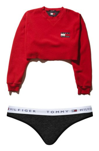 """""""Tommy"""" by babygirl332 ❤ liked on Polyvore featuring tops, shirts, sweaters, crop top, red top, crop shirt, red shirt, fleece tops, sleeve shirt and intimates"""