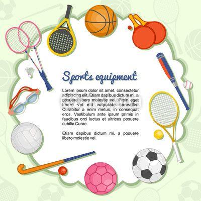 Vector: Artículos deportivos formando un marco   tarjetas ...