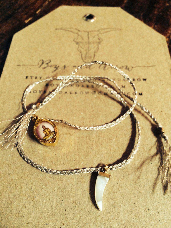 Vintage metallic braided thread Buddha and bone charm bracelet by BoysandArrowShoppe on Etsy
