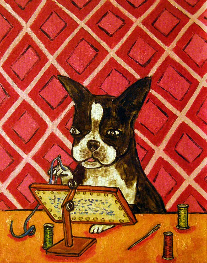 Boston Terrier playing the violin music room art tile coaster gift dog artwork