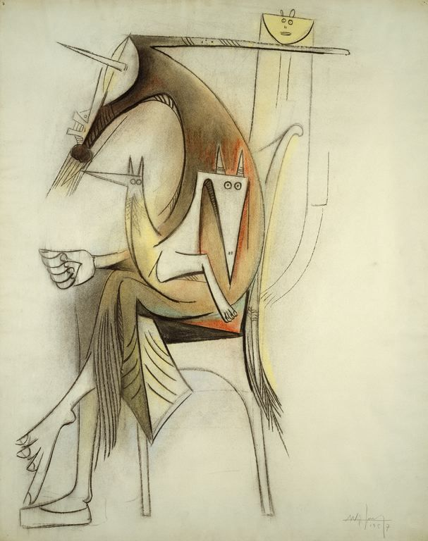 'Mother and Child.' Wifredo Lam, 1957. Charcoal and pastel on ivory wove paper.