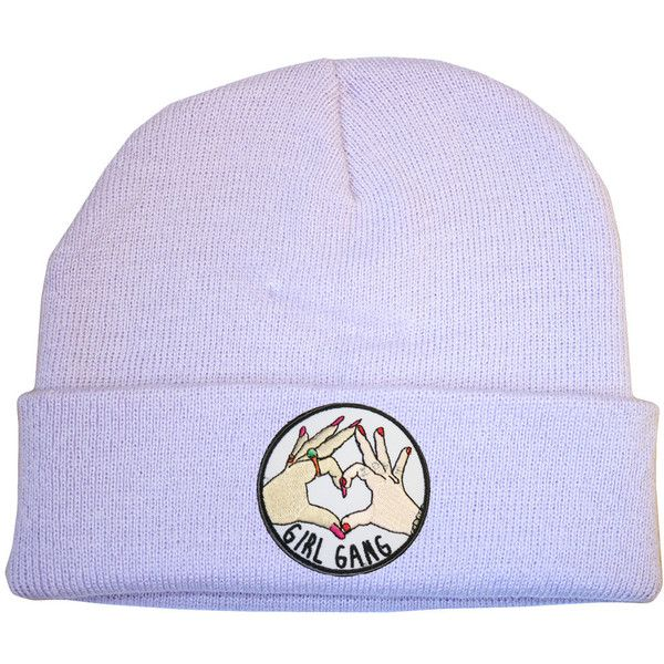 e8e824508f3 Girl Gang Lilac Beanie Hat 90s Raver Stoner Hipster Skater Cute... ( 11) ❤  liked on Polyvore featuring accessories