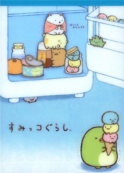 Sumikkogurashi animal in corner in a fridge Note Pad 1
