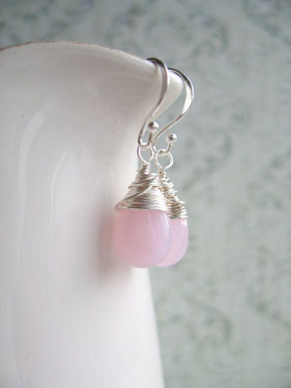 Light Pink Glass Teardrop Silver Earrings by DesignByThyll on Etsy, $23.00