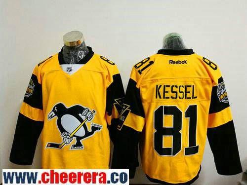 Men's Pittsburgh Penguins #81 Phil Kessel Yellow 2017 Stadium Series Stitched NHL Reebok Hockey Jersey