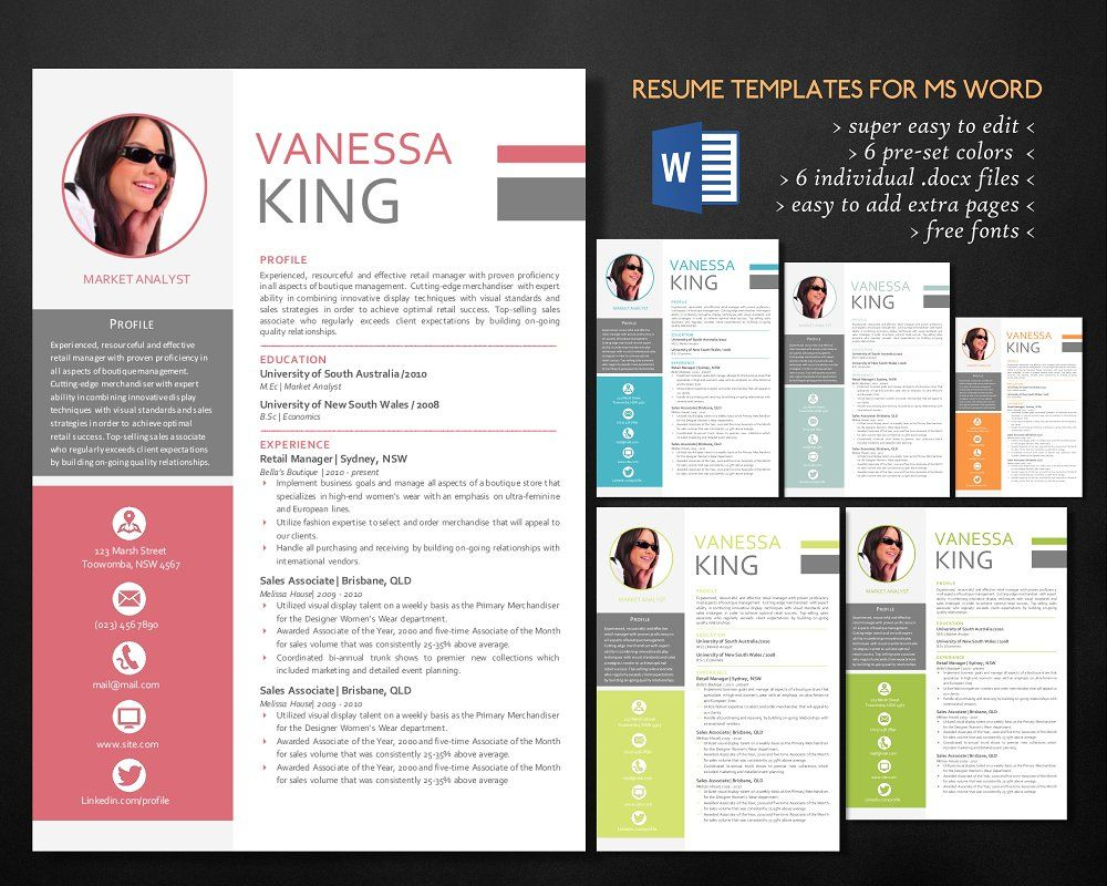 Professional 3 in 1 Word resume Resume, Resume templates