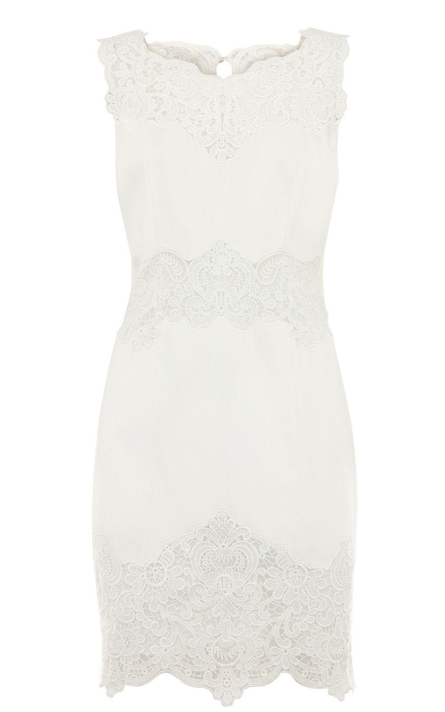 007bfe867d8 Karen Millen Cotton lace panel Dress White