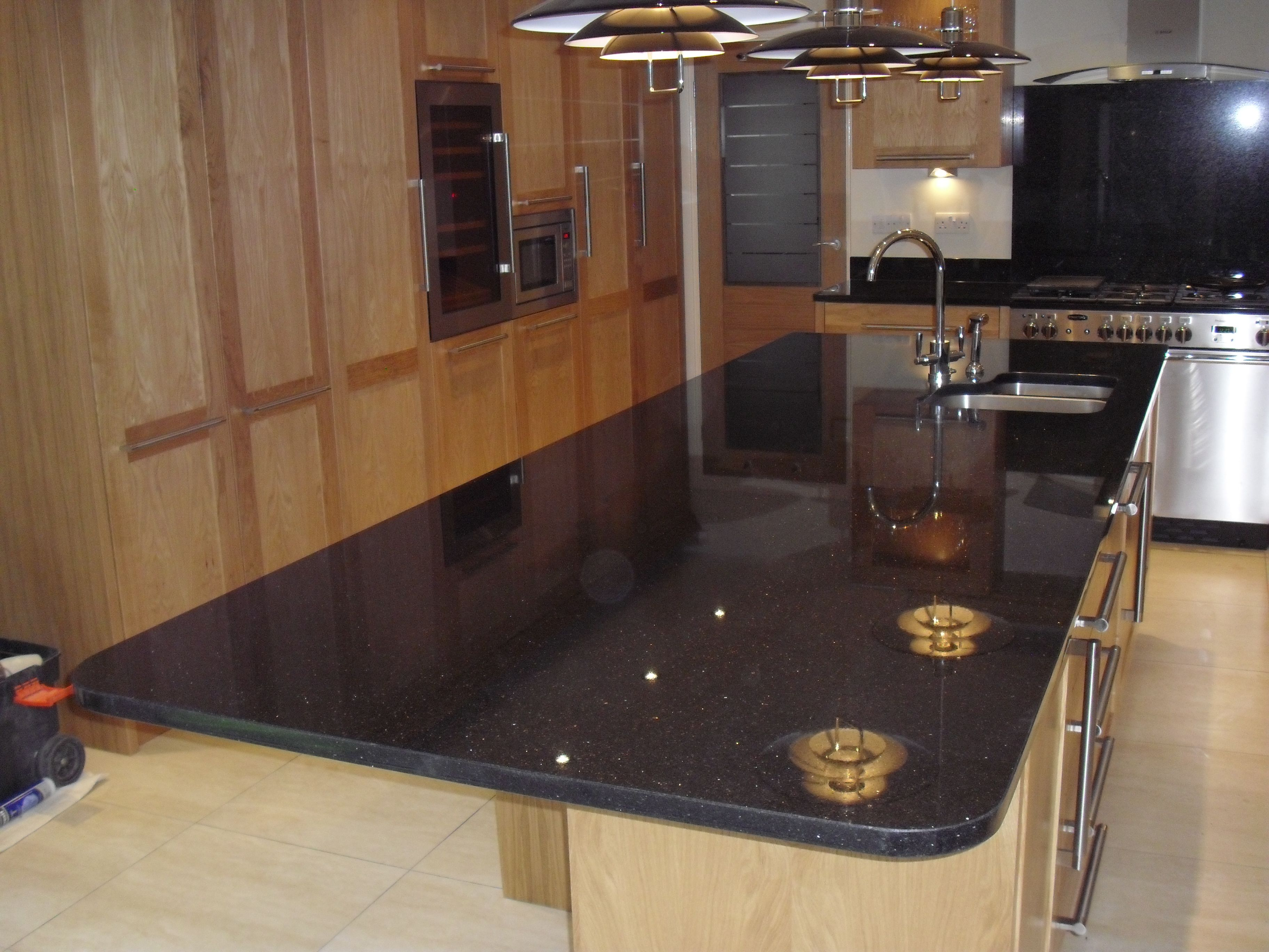Stargalaxy Granite Huge Island In Length With Polished Sink Cut Out Granite Quartz