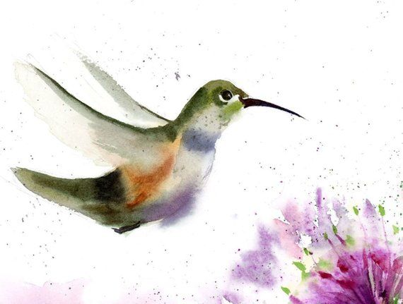 Hummingbird Painting Original Watercolor Art Little Bird Artwork