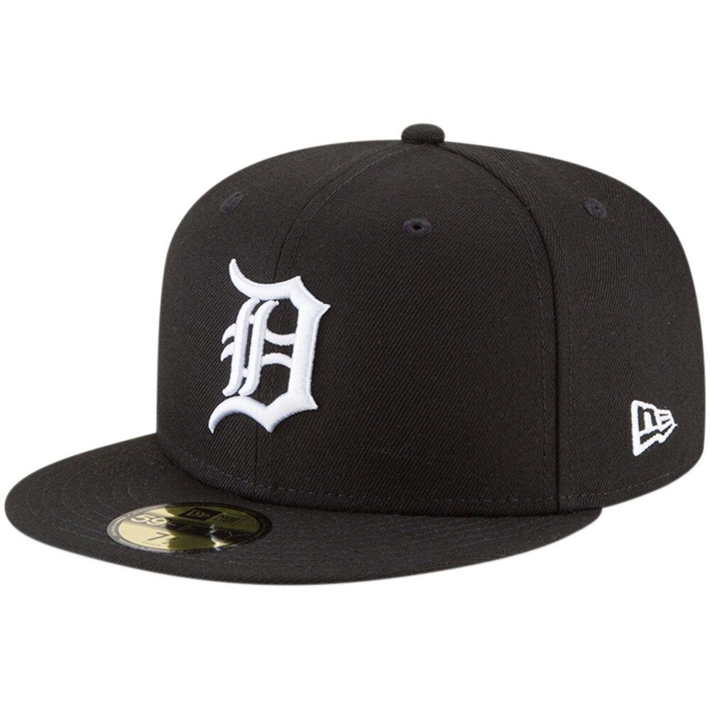 Men S New Era Black Detroit Tigers Basic 59fifty Fitted Hat In 2021 Fitted Hats Hats For Men New Era
