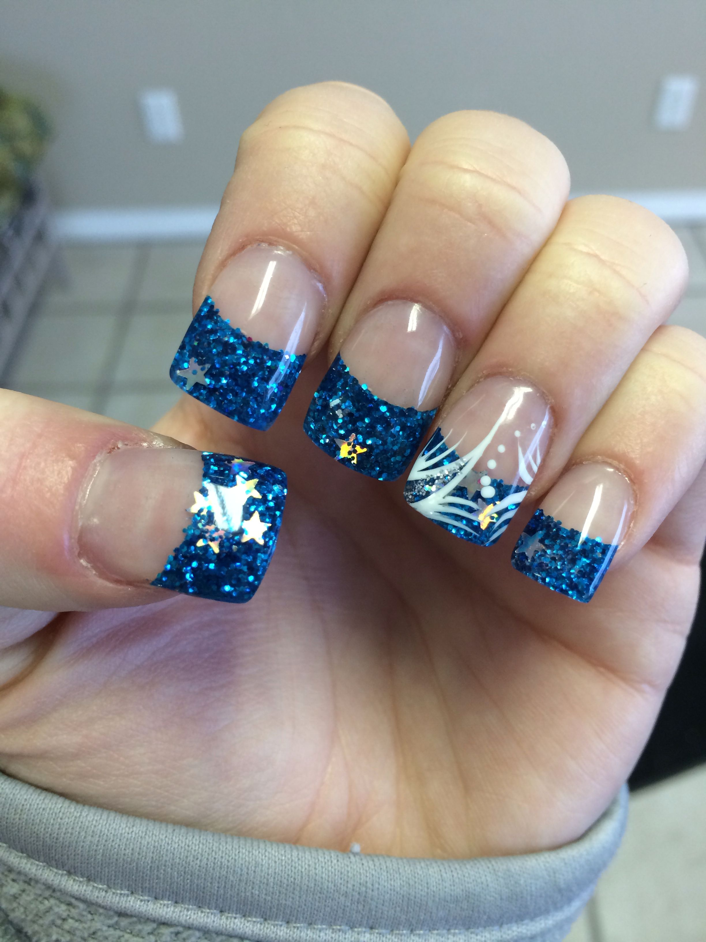 Blue Glitter Tip Nails With Silver Stars With White And Silver